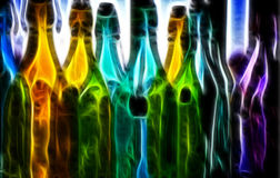 Pintura de Digitaces de las botellas Imagen de archivo libre de regalías