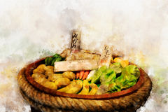 Pintura de Digitaces de las verduras frescas y de las frutas, estilo de la acuarela Fotografía de archivo libre de regalías