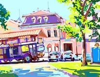 Pintura de Digitaces del día soleado en la ciudad, contemporáneo a del verano Ilustración del Vector