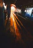 Pintura de Digitaces, estación ailway con puesta del sol Imágenes de archivo libres de regalías