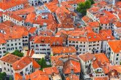 Pintura de Digitaces de los tejados de Montenegro Kotor fotografía de archivo libre de regalías