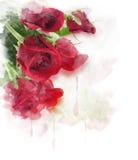 Pintura de Digitas das rosas vermelhas ilustração do vetor