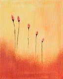 Pintura de flores vermelhas Imagem de Stock