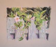 Pintura de flores y de hojas en la cerca de madera Imagen de archivo libre de regalías