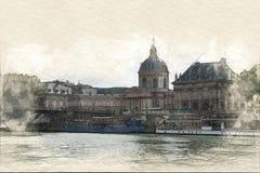 Pintura de Institut de France ilustração do vetor