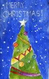 Pintura de la acuarela Árbol de navidad adornado Fondo para una tarjeta de la invitación o una enhorabuena snowing Texto: Feliz N libre illustration