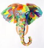 Pintura de la acuarela de la cabeza del elefante foto de archivo libre de regalías