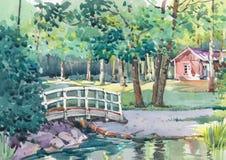 Pintura de la acuarela de la casa de la cabaña en el lado del país ilustración del vector