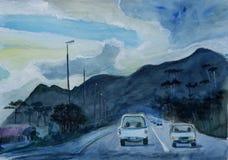 Pintura de la acuarela con la carretera en Suráfrica