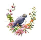 Pintura de la acuarela con el pájaro y las flores, en el ejemplo blanco del fondo Fotografía de archivo