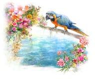 Pintura de la acuarela con el pájaro y las flores, en el fondo blanco Foto de archivo