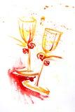 Pintura de la acuarela de dos copas Fotografía de archivo