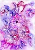 Pintura de la acuarela de flores Imagenes de archivo