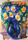 Pintura de la acuarela de flores stock de ilustración