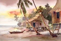 Pintura de la acuarela de la aldea Foto de archivo