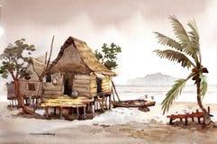 Pintura de la acuarela de la aldea Imágenes de archivo libres de regalías