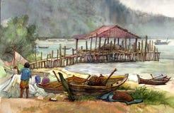 Pintura de la acuarela de la aldea Fotografía de archivo libre de regalías