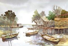 Pintura de la acuarela de la aldea Fotos de archivo