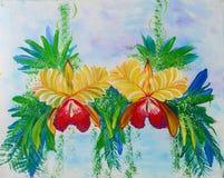 Pintura de la acuarela de la flor de la orquídea Fotografía de archivo