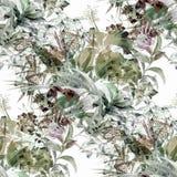Pintura de la acuarela de la hoja y de flores Fotos de archivo
