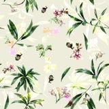 Pintura de la acuarela de la hoja y de flores Imagen de archivo libre de regalías