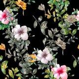 Pintura de la acuarela de la hoja y de flores Fotos de archivo libres de regalías