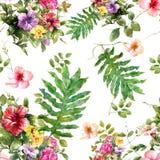 Pintura de la acuarela de la hoja y de flores Imagen de archivo