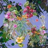 Pintura de la acuarela de la hoja y de flores Foto de archivo libre de regalías