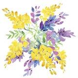 Pintura de la acuarela de la hoja y de flores Fotografía de archivo