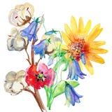 Pintura de la acuarela de la hoja y de flores Imágenes de archivo libres de regalías
