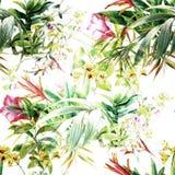 Pintura de la acuarela de la hoja y de las flores, modelo inconsútil Fotos de archivo