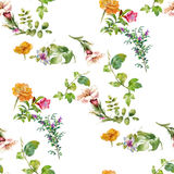 Pintura de la acuarela de la hoja y de las flores, modelo inconsútil Imágenes de archivo libres de regalías