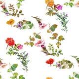 Pintura de la acuarela de la hoja y de las flores, modelo inconsútil Fotos de archivo libres de regalías