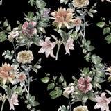 Pintura de la acuarela de la hoja y de las flores, modelo inconsútil Foto de archivo libre de regalías
