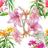 Pintura de la acuarela de la hoja y de las flores, modelo inconsútil Fotografía de archivo libre de regalías