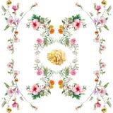 Pintura de la acuarela de la hoja y de las flores, modelo inconsútil en el fondo blanco Fotos de archivo