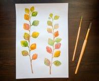 Pintura de la acuarela de las hojas de otoño coloridas Visión superior Fotos de archivo libres de regalías