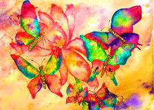 Pintura de la acuarela de las mariposas Imágenes de archivo libres de regalías
