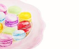 Pintura de la acuarela de los macarrones del postre en blanco stock de ilustración