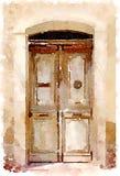 Pintura de la acuarela de una puerta de madera vieja en España imagenes de archivo