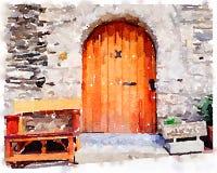 Pintura de la acuarela de una puerta de madera vieja en España con un banco fotografía de archivo libre de regalías
