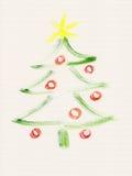 Pintura de la acuarela del árbol de navidad Fotografía de archivo libre de regalías