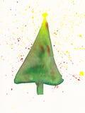 Pintura de la acuarela del árbol de navidad Imagenes de archivo