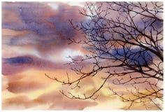 Pintura de la acuarela del cielo y de nubes en la tarde Foto de archivo