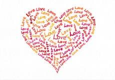 Pintura de la acuarela del corazón del texto del amor Fotografía de archivo