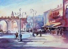 Pintura de la acuarela del cuadrado central de la ciudad de Verona Fotos de archivo libres de regalías