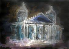 Pintura de la acuarela del edificio viejo de la ópera Foto de archivo