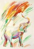 Pintura de la acuarela del elefante fotografía de archivo libre de regalías