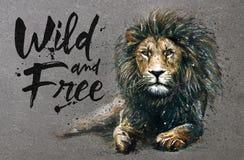 Pintura de la acuarela del león con el rey despredador de los animales del fondo de los animales salvajes y libres ilustración del vector