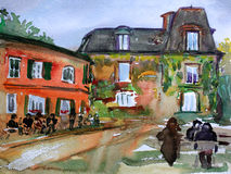 Pintura de la acuarela del Montmartre Foto de archivo libre de regalías